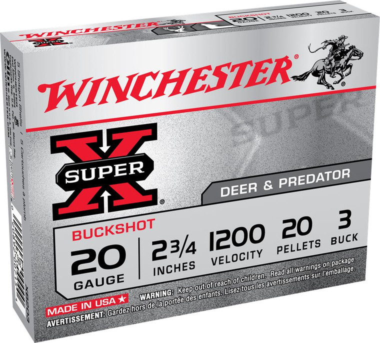 "Winchester Super-X 20 Gauge - 2-3/4"" - #3 Buckshot - 20 Pellets - 1200 FPS - 5 Rounds - 020892007154"