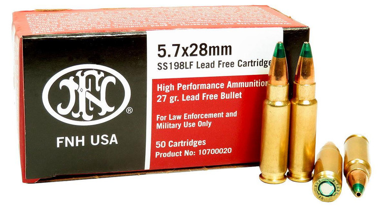 FNH SS198LF 5.7x28 - 27 Grain HP - 2480 FPS - 50 Rounds - 818513006071
