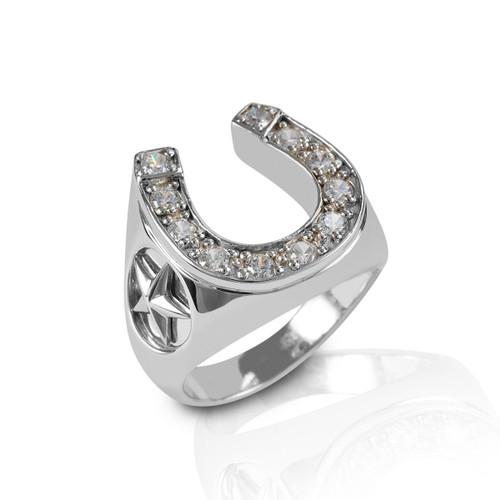 Kelly Herd Men's Engraved Stars Horseshoe Ring - Sterling Silver