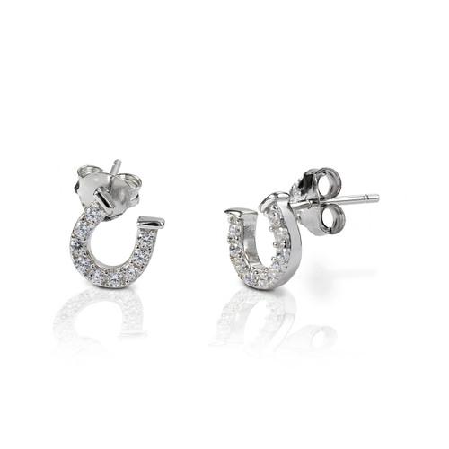 Kelly Herd Clear Horseshoe Earrings - Sterling Silver