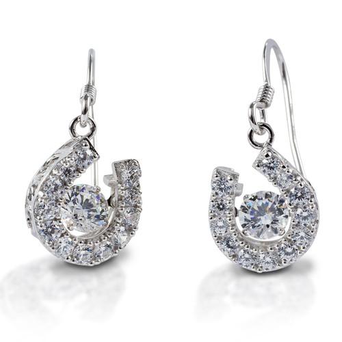Kelly Herd Dancing Stone Horseshoe Dangle Earrings - Sterling Silver