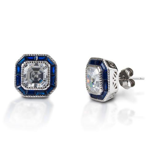 Kelly Herd Asscher Cut/Blue Spinel Earrings - Sterling Silver