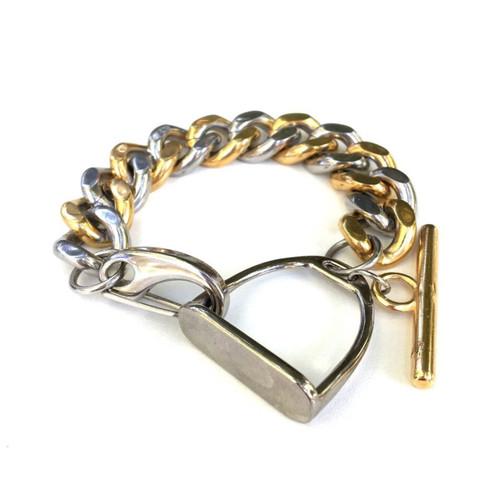 Mixed Metal Stirrup Curb-Chain Bracelet