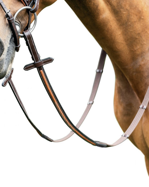 Prestige Cotton Reins with 5 stoppers and soft leather inserts for Bridle E87