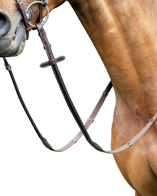 Prestige Cotton Reins with 5 stoppers and Patent Leather inserts for Bridle E91