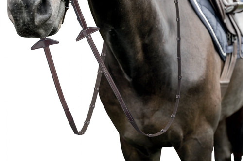 Prestige Fancy Stitching Web Reins with 9 stoppers and stitching for Bridles  E141-E143