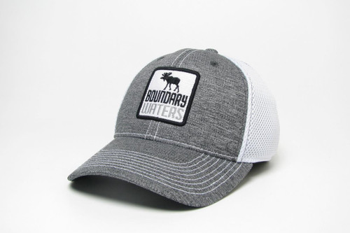 Boundary Waters Moose Hat - Fitted Trucker Grey/White - 190136448705