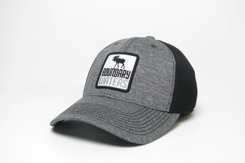 Boundary Waters Moose Hat - Fitted Trucker Grey/Black - 190136448682