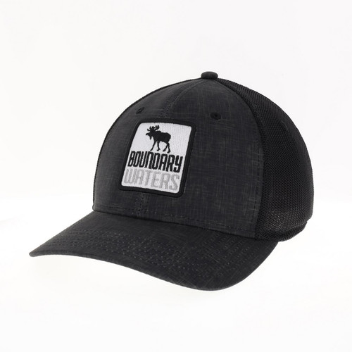 Boundary Waters Moose Stretch Fit Reclaimed Trucker Hat / Black - 641824336502
