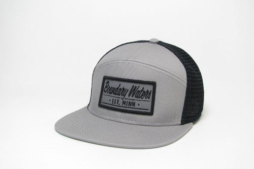 Legacy Flat Brim Boundary Waters Trucker Hat / Light Grey & Black - 190136115942