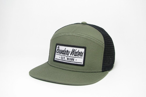 Legacy Flat Brim Boundary Waters Trucker Hat /  Olive & Black - 190136115959