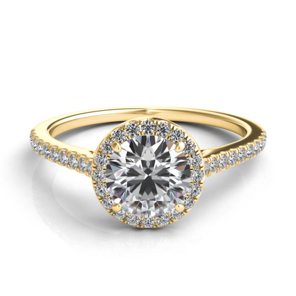 Sasha Primak Contoured Arch Cathedral Micro Pave Round Halo Engagement Ring R302G