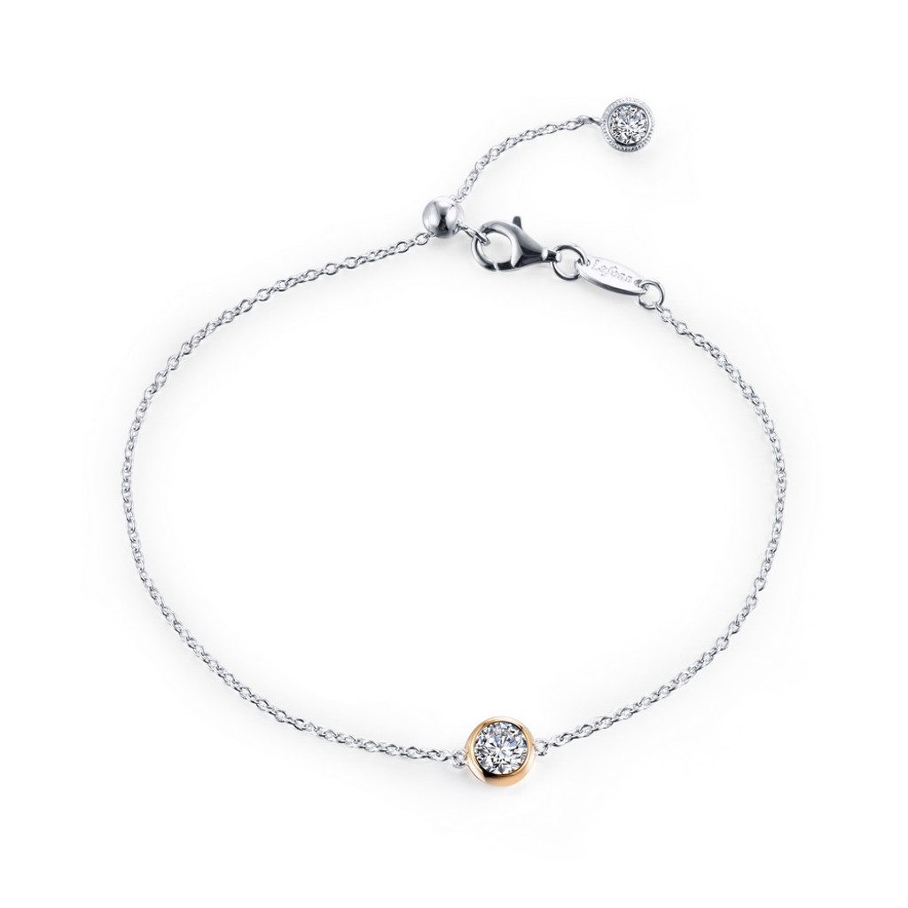 Lafonn Simulated Diamond Bracelet in Sterling Silver Bonded with 2-Tone B0128CLT75