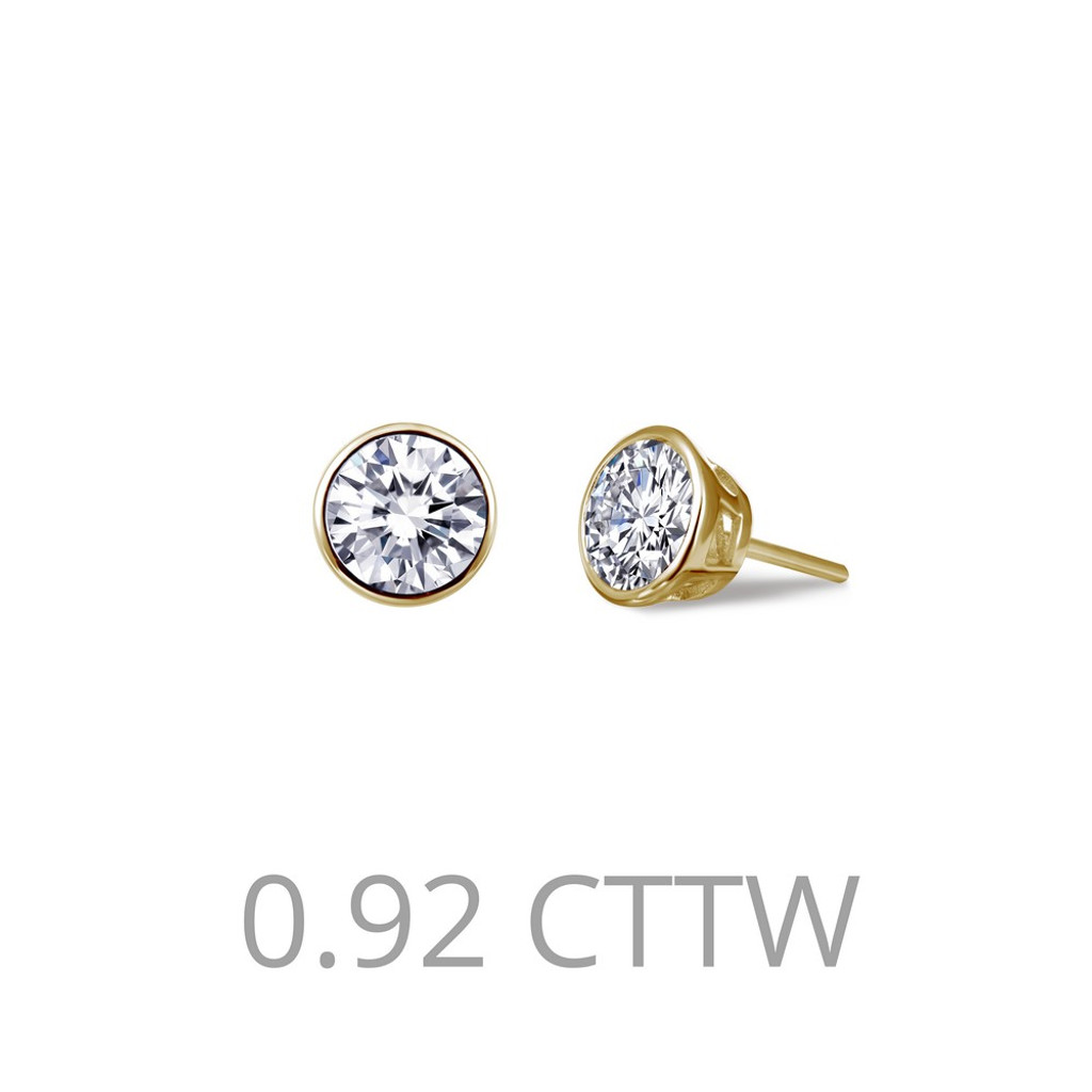Lafonn Simulated Diamond Earrings in Sterling Silver Bonded with Gold E0209CLG00