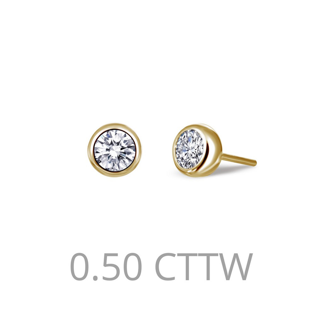 Lafonn Simulated Diamond Earrings in Sterling Silver Bonded with Gold E0212CLG00