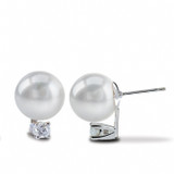 Imperial Pearl Freshwater Pearl Stud Earrings with Diamonds