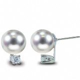 Imperial Pearl Japanese Akoya Pearl Stud Earrings with Diamonds