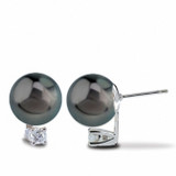 Imperial Pearl Tahitian Pearl Stud Earrings with Diamonds
