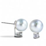 Imperial Pearl White South Sea Pearl Stud Earring with Diamonds