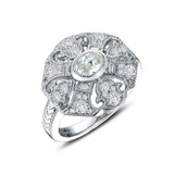 Lafonn Simulated Diamond Ring in Sterling Silver Bonded with Platinum R0240CLP05