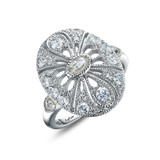 Lafonn Simulated Diamond Ring in Sterling Silver Bonded with Platinum R0245CLP05