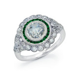Lafonn Emerald Ring in Sterling Silver Bonded with Platinum R0248CEP05
