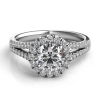 Pave Accented Round Halo Split Shoulder Diamond Engagement Ring ER353G