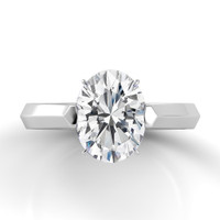 Danhov Classico Oval Solitaire Knife Edge Engagement Ring CL123-OV