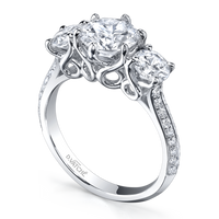 Vatche 3 Stone Swan Pave Engagement Ring 324