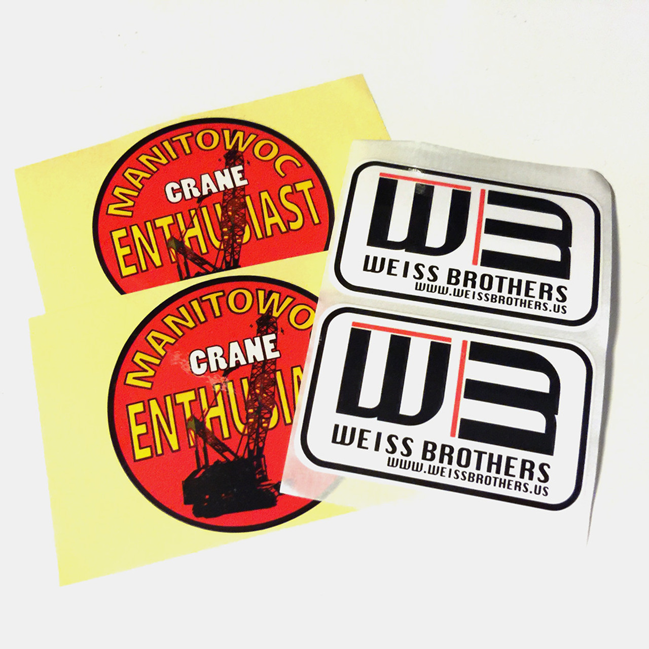 Manitowoc Crane and Weiss Brother hardhat Stickers.  Free