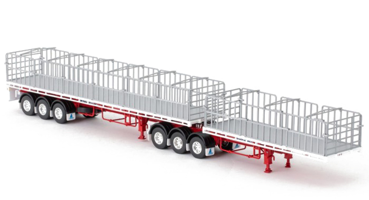 1:50 scale model of MaxiTRANS Freighter B Double Flat Top Trailer Set - White and Red