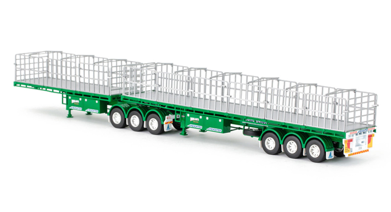 1:50 diecast scale model of MaxiTRANS Freighter B Double Flat Top Trailer Set - Doolan