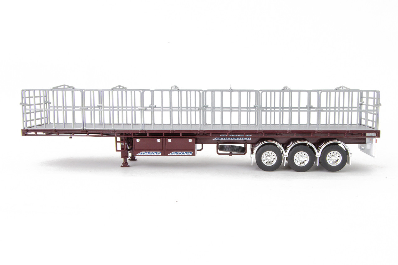 1:50 scale diecast model of MaxiTRANS Freighter B Double Flat Top Trailer Set in Vintage Burgundy