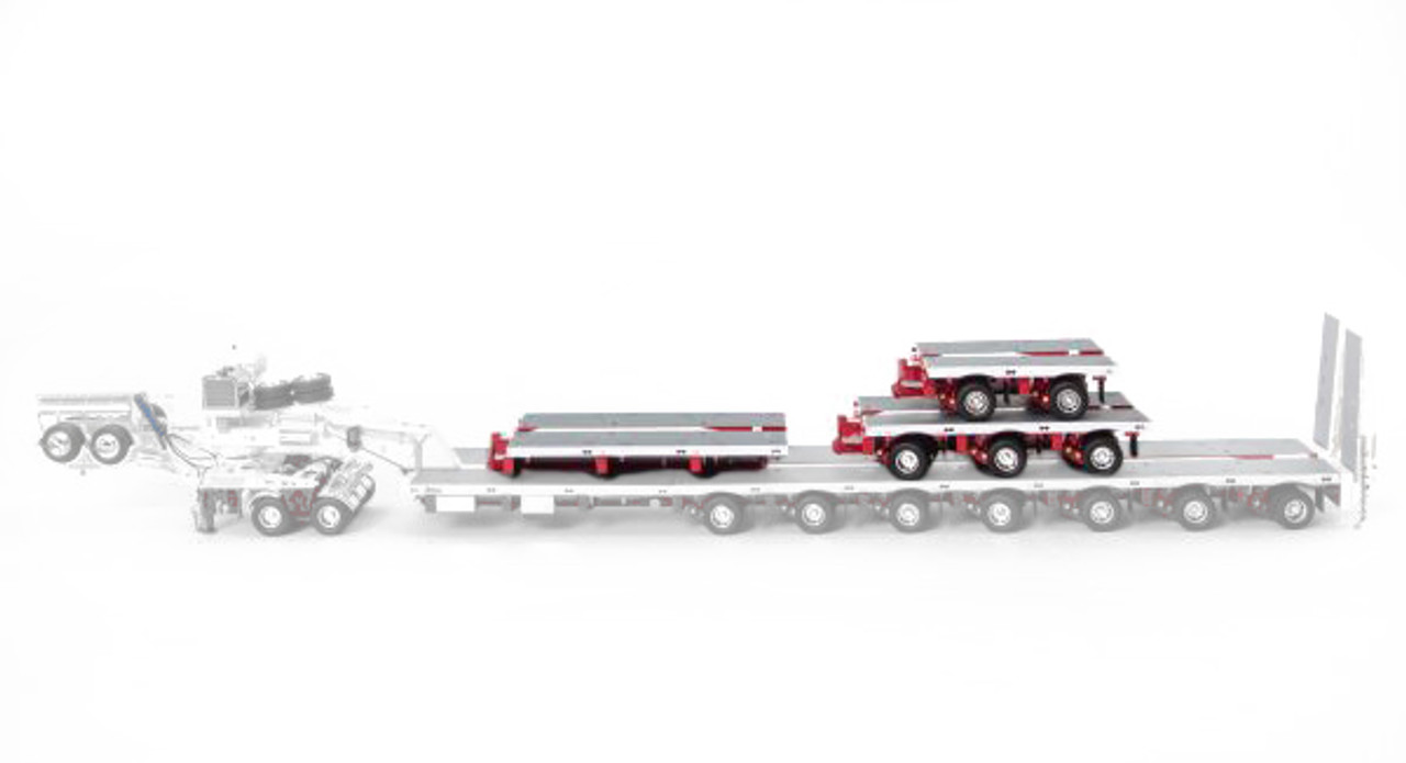 1:50 diecast scale model of Drake Steerable Low Loader Trailer Accessory Kit in White and Red