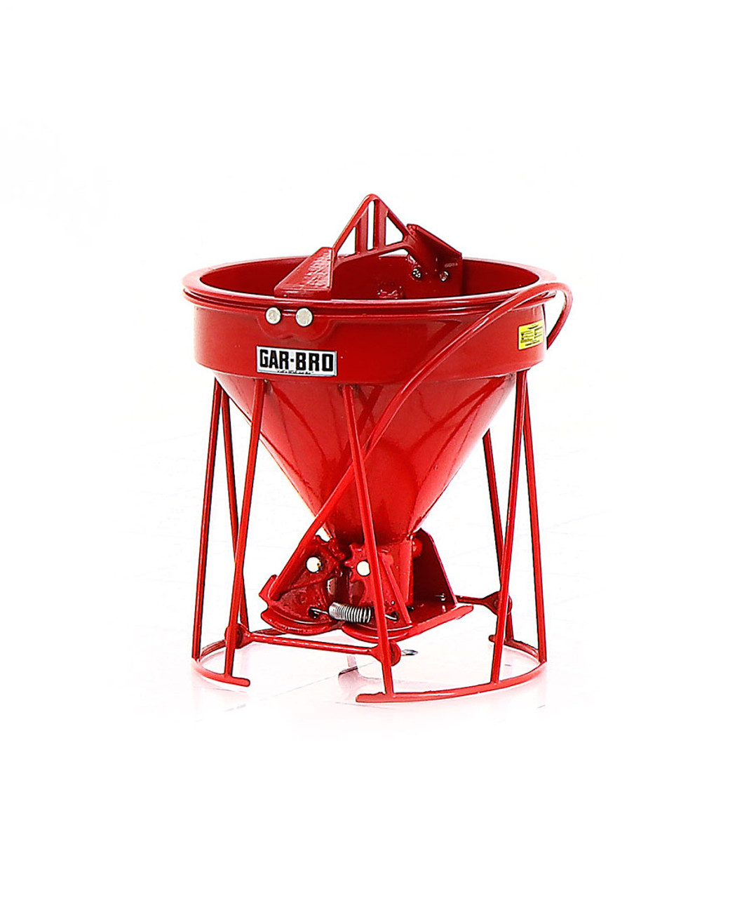 "Gar-Bro ""R"" Series Lightweight Round-Gate Concrete Bucket - Red"