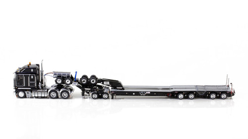 1:50 diecast scale model of Kenworth K200 with Drake 2x8 Dolly and Drake 4x8 Bucket Trailer-Black