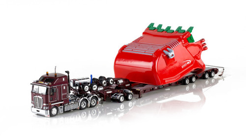 1:50 diecast scale model replica of Kenworth K200, Drake 2x8 Dolly and Drake 4x8 Bucket Trailer-Vintage Burgundy