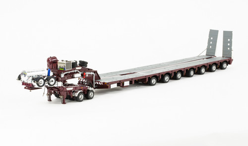 1:50 scale diecast model of Drake 2x8 Dolly and 7x8 Steerable Low Loader Trailer - Vintage Burgundy