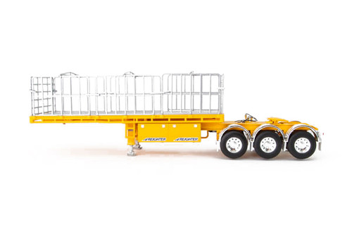1:50 diecast scale model of MaxiTRANS Freighter B Double Flat Top Trailer Set in Yellow