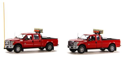 Ford F250 Pickup Truck Escort Set - Red/Chrome