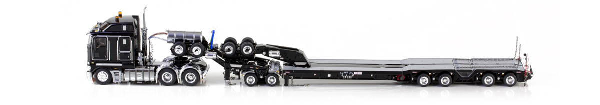 1:50 scale Kenworth K200 with Drake 2x8 dolly and 4x8 Bucket Trailer - Black