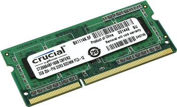 Crucial 2GB DDR3 1600MHz PC3-12800 Laptop Memory CT25664BF160B