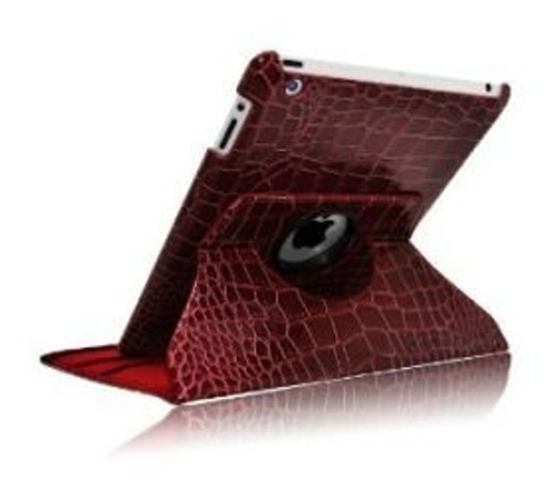 Brown color Alligator pattern PU rotation leather case for IPad3 and IPad4