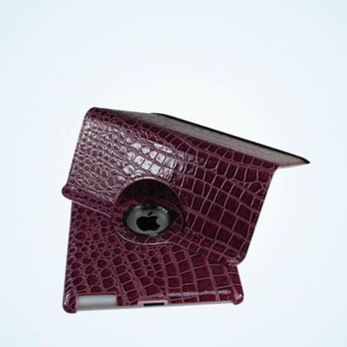 Purple Color Alligator pattern PU rotation leather case for IPad3 and IPad4