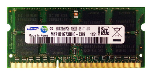 Samsung 8GB DDR3 1333MHz PC3-10600 non-ECC Unbuffered SoDIMM Dual Rank OEM Memory M471B1G73BH0-CH9