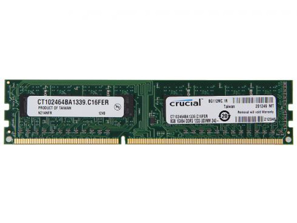 Crucial 8GB DDR3 1333MHz PC3-10600 240-Pin non-ECC Unbuffered Dual Rank DIMM Desktop Memory CT102464BA1339