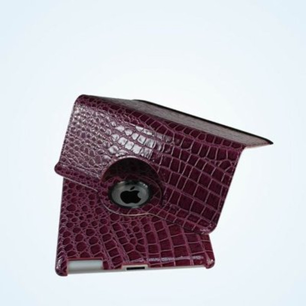 Purple Color Alligator pattern PU rotation leather case for IPad3 and IPad4