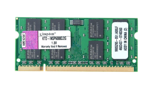 Kingston 2GB DDR2 800MHz SODIMM Laptop Memory KTD-INSP6000C/2G