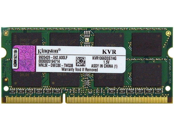 Kingston 4GB DDR3 1066MHz PC3-8500 204-Pin non-ECC Unbuffered SoDIMM Dual Rank Notebook Memory KVR1066D3S7/4G