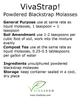 VivaStrap! 80oz (5lb) Water Soluble Powdered Blackstrap Molasses